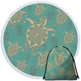 Coastal Round Beach Towel-Turtles in Turquoise Towel + Backpack-Coastal Passion