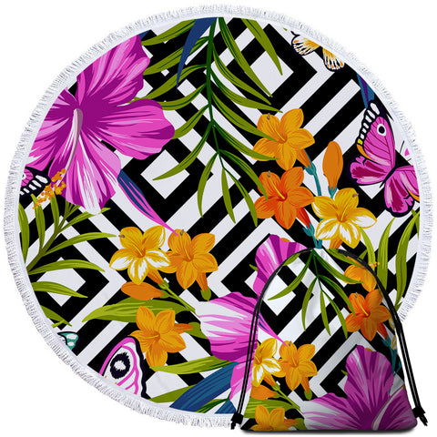 Coastal Round Beach Towel-The Flower Garden Towel + Backpack-Coastal Passion