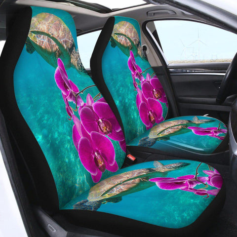 Sea Turtle and Orchids Car Seat Cover