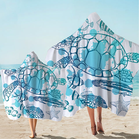 Sea Turtle Society Hooded Towel