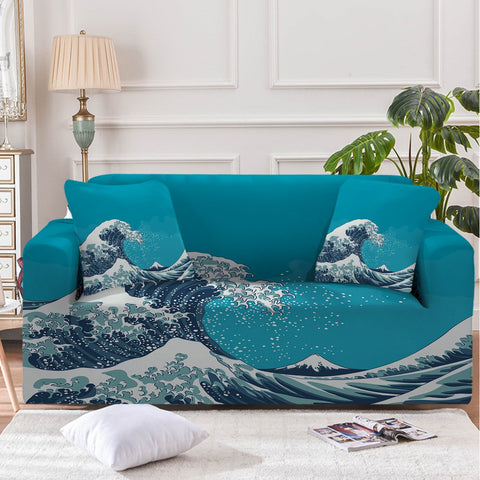 The Great Wave Couch Cover-Australian Coastal Passion