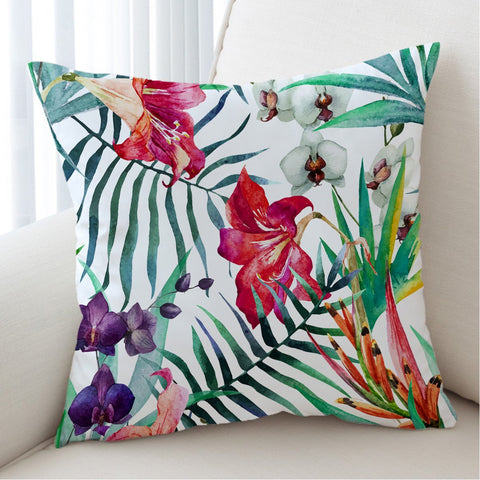 Coastal Pillow Cover-Tropical Floral Pillow Cover-Coastal Passion