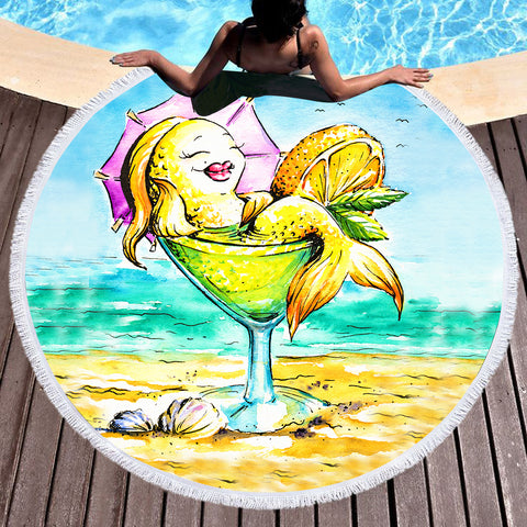 Margarita Mermaid Fun Beach Towel-Round Beach Towel-Adult: 150 cm diameter-Australian Coastal Passion