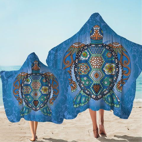 Sea Turtle Totem Hooded Towel