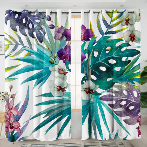 Coastal Curtain-Tropical Orchids Curtains-Coastal Passion