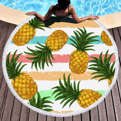 Pineapple Party Round Beach Towel-Round Beach Towel-Australian Coastal Passion