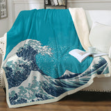 The Great Wave Soft Sherpa Blanket-Australian Coastal Passion