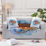 Sea Turtle Waves Couch Cover-Australian Coastal Passion