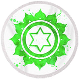 7 Chakras Fun Beach Towel Collection-Round Beach Towel-Anahata Chakra Round Beach Towel-Australian Coastal Passion