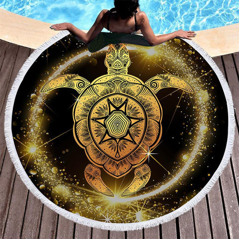The Astro Turtle Round Beach Towel-Round Beach Towel-Adult: 150 cm diameter-Australian Coastal Passion