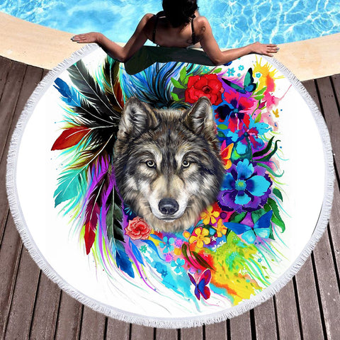 The Original Wolf Spirit Round Beach Towel-Round Beach Towel-Australian Coastal Passion