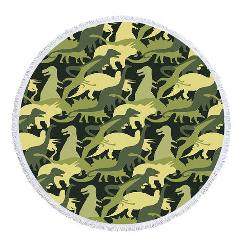 Camouflage Dinosaurs - Baby Size 100 cm-Round Beach Towel-Australian Coastal Passion