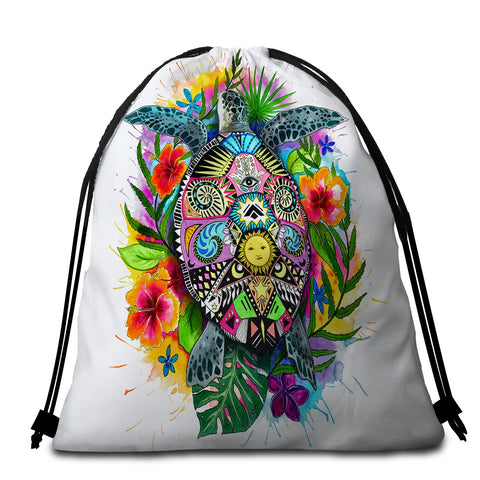 Coastal Drawstring Bag-The Original Turtle Mystic Drawstring Bag-Coastal Passion