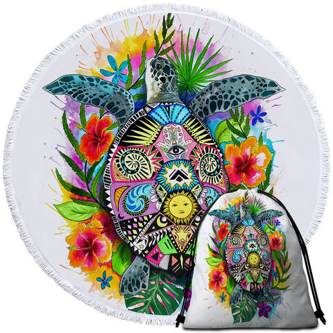 Coastal Round Beach Towel-The Original Turtle Mystic Towel + Backpack-Coastal Passion