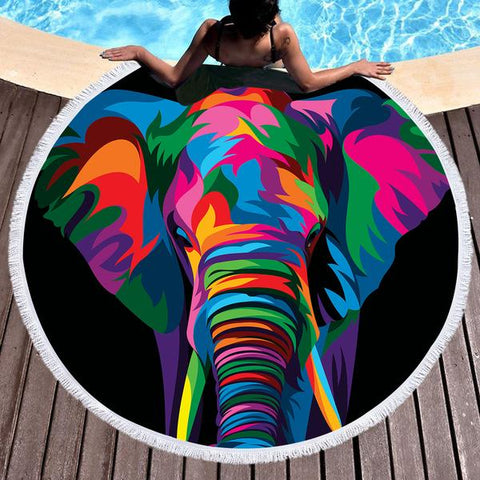 Elephant Rainbow Round Beach Towel