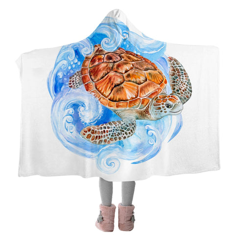 Sea Turtle Waves Cozy Hooded Blanket-Coastal Passion