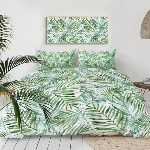 Coastal Duvet Comforter Bedding Set-Tropical Palm Leaves Doona Cover Set-Coastal Passion