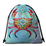 Coastal Round Beach Towel-The Royal Crab Towel + Backpack-Coastal Passion