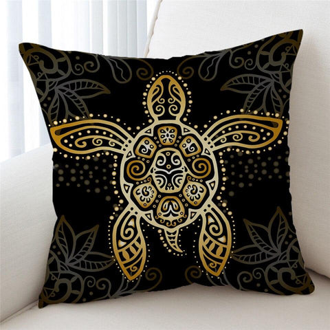 Coastal Pillow Cover-The Golden Sea Turtle Pillow Cover-Coastal Passion