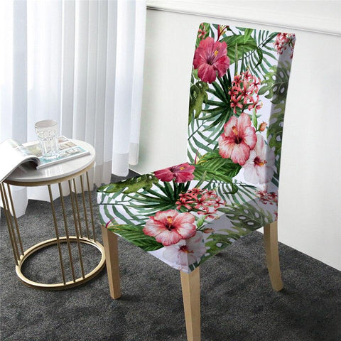 Coastal Dining Chair Cover-Tropical Hibiscus Chair Cover-Coastal Passion