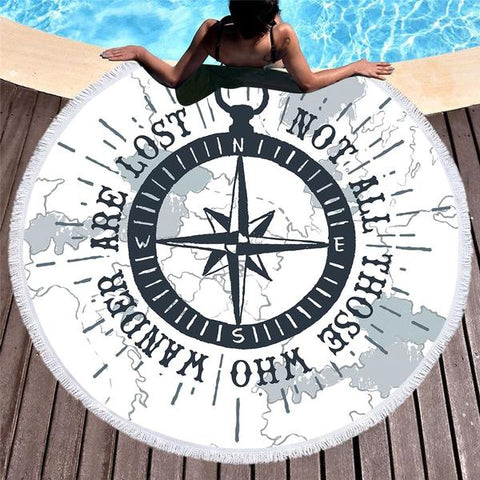 Coastal Round Beach Towel-The Ocean Wanderer Round Beach Towel-Coastal Passion