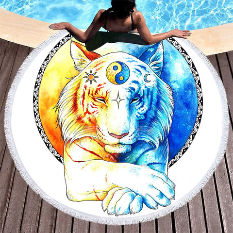 Queen Of The Tao Fun Beach Towel-Round Beach Towel-Adult: 150 cm diameter-Australian Coastal Passion