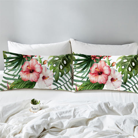 Coastal -Tropical Hibiscus Set of 2 Pillow Cases-Coastal Passion
