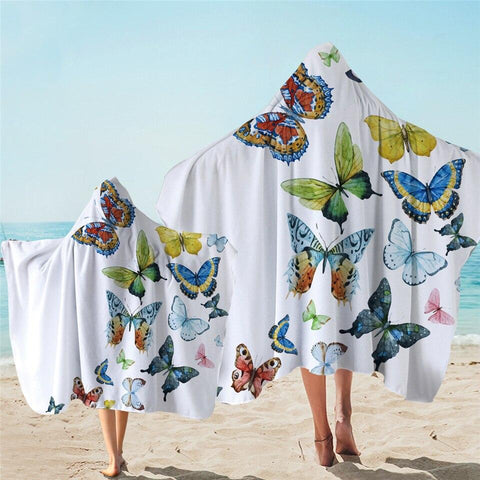 Coastal Hooded Towel-Beachy Butterflies Hooded Towel-Coastal Passion