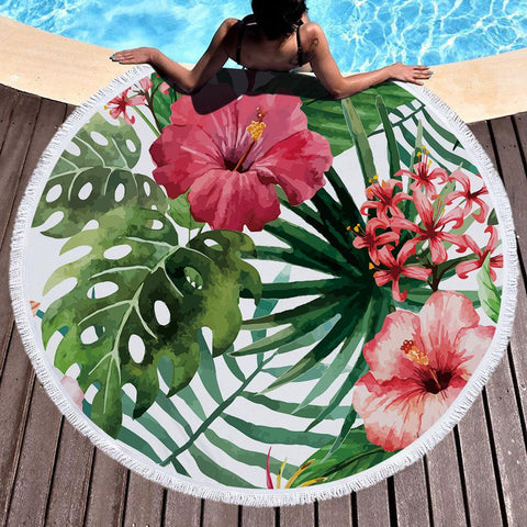 Hibiscus Round Beach Towel-Round Beach Towel-Australian Coastal Passion