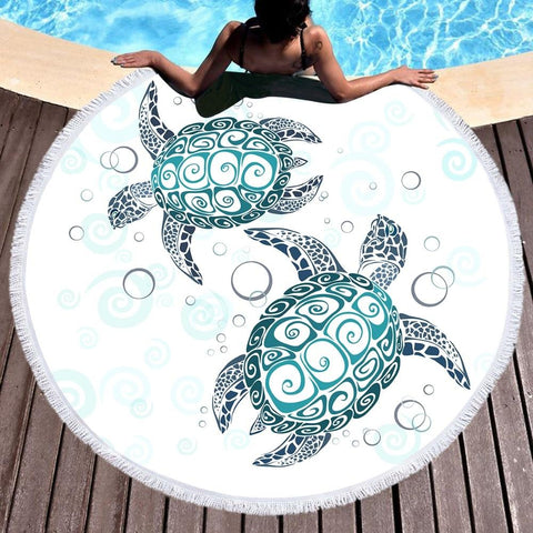 The Turtle Twist Round Beach Towel-Round Beach Towel-Australian Coastal Passion