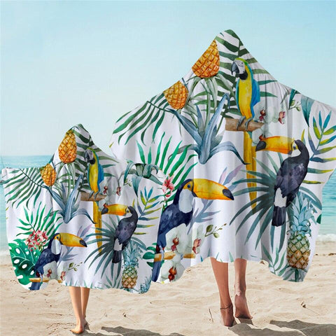 Coastal Hooded Towel-Jungle Zest Hooded Towel-Coastal Passion