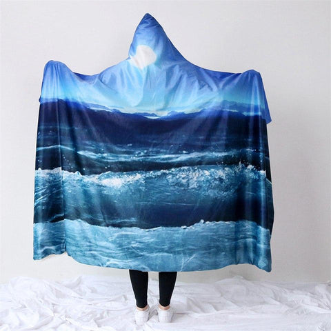 Moonlight Magic Cozy Hooded Blanket-Fleece Hooded Blanket-Australian Coastal Passion
