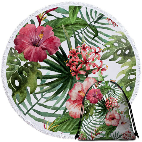 Coastal Round Beach Towel-Tropical Hibiscus Towel + Backpack-Coastal Passion