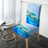 Coastal Dining Chair Cover-Sea Turtle Tropics Chair Cover-Coastal Passion