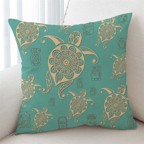 Coastal Pillow Cover-Turtles in Turquoise Pillow Cover-Coastal Passion