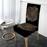 Coastal Dining Chair Cover-Golden Sea Turtle and Lotus Chair Cover-Coastal Passion