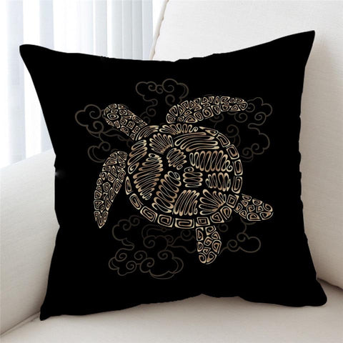 Coastal Pillow Cover-Shelly the Sea Turtle Pillow Cover-Coastal Passion