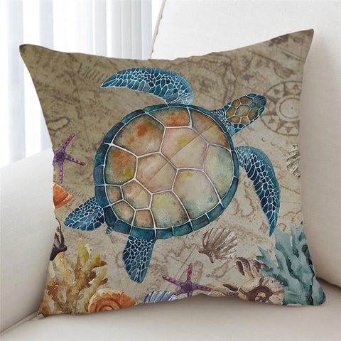 Coastal Pillow Cover-The Original Turtle Island Pillow Cover-Coastal Passion