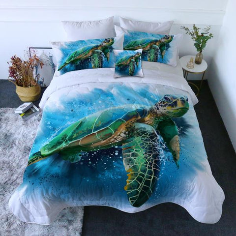 Coastal Doona Quilt Cover Set-Queen of the Ocean Quilt Set-Coastal Passion