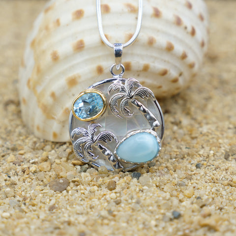 Coastal One of a Kind Necklace-Palm Tree Pendant Necklace with Larimar, Swiss Blue Topaz and Mother of Pearl Mosaic-Coastal Passion