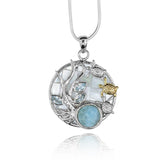 Pear shape larimar with sea tutle , round Mother of pearl pendant with Blue Topaz stones .