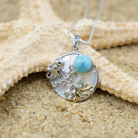 Coastal One of a Kind Necklace-Octopus Pendant Necklace with Larimar. Blue Topaz and Mother of Pearl Mosaic-Coastal Passion