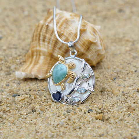 Coastal One of a Kind Necklace-Sea Turtle Pendant Necklace with Larimar, Blue Sapphire and Mother of Pearl Mosaic-Coastal Passion