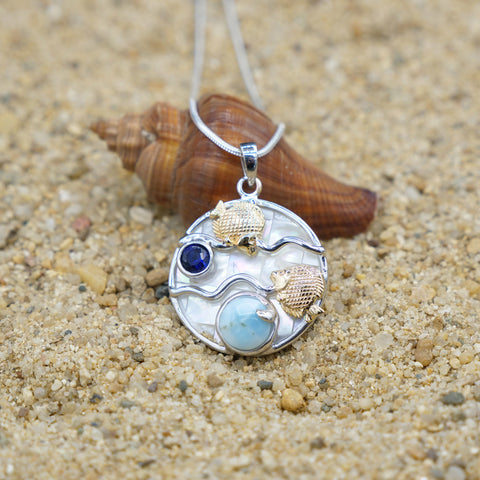 Coastal One of a Kind Necklace-Fish Pendant Necklace with Larimar, Blue Sapphire and Mother of Pearl Mosaic-Coastal Passion