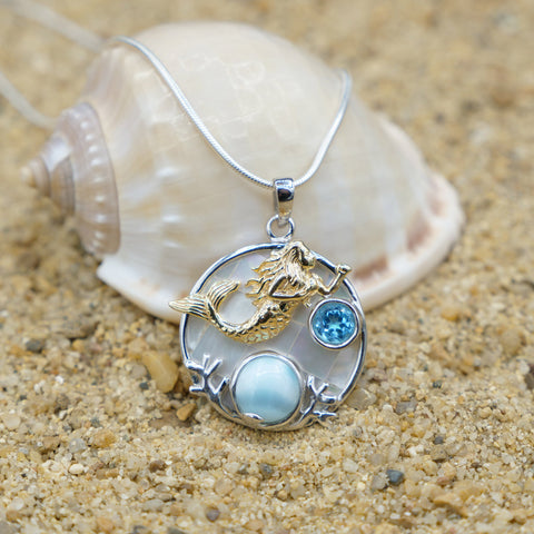 Coastal One of a Kind Necklace-Mermaid Pendant Necklace with Larimar, Blue Topaz and Mother of Pearl Mosaic-Coastal Passion