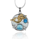 Round shape larimar with swiss blue topaz , mermaid , round mother of pearl pendant