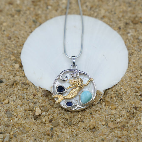 Coastal One of a Kind Necklace-Mermaid Pendant Necklace with Larimar, Blue Sapphire and Mother of Pearl Mosaic-Coastal Passion