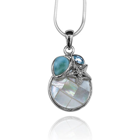 Pear shape larimar with blue topaz , star fish  and round mohter of pearl pendant