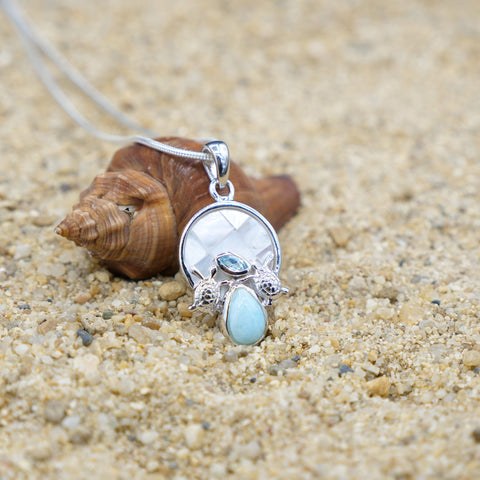 Coastal One of a Kind Necklace-Sea Turtle Pendant Necklace with Blue Topaz, Mother of Pearl Mosaic and Larimar Stone-Coastal Passion