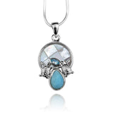 Pear shape larimar , sea turtle , blue topaz , round mother of pearl pendant